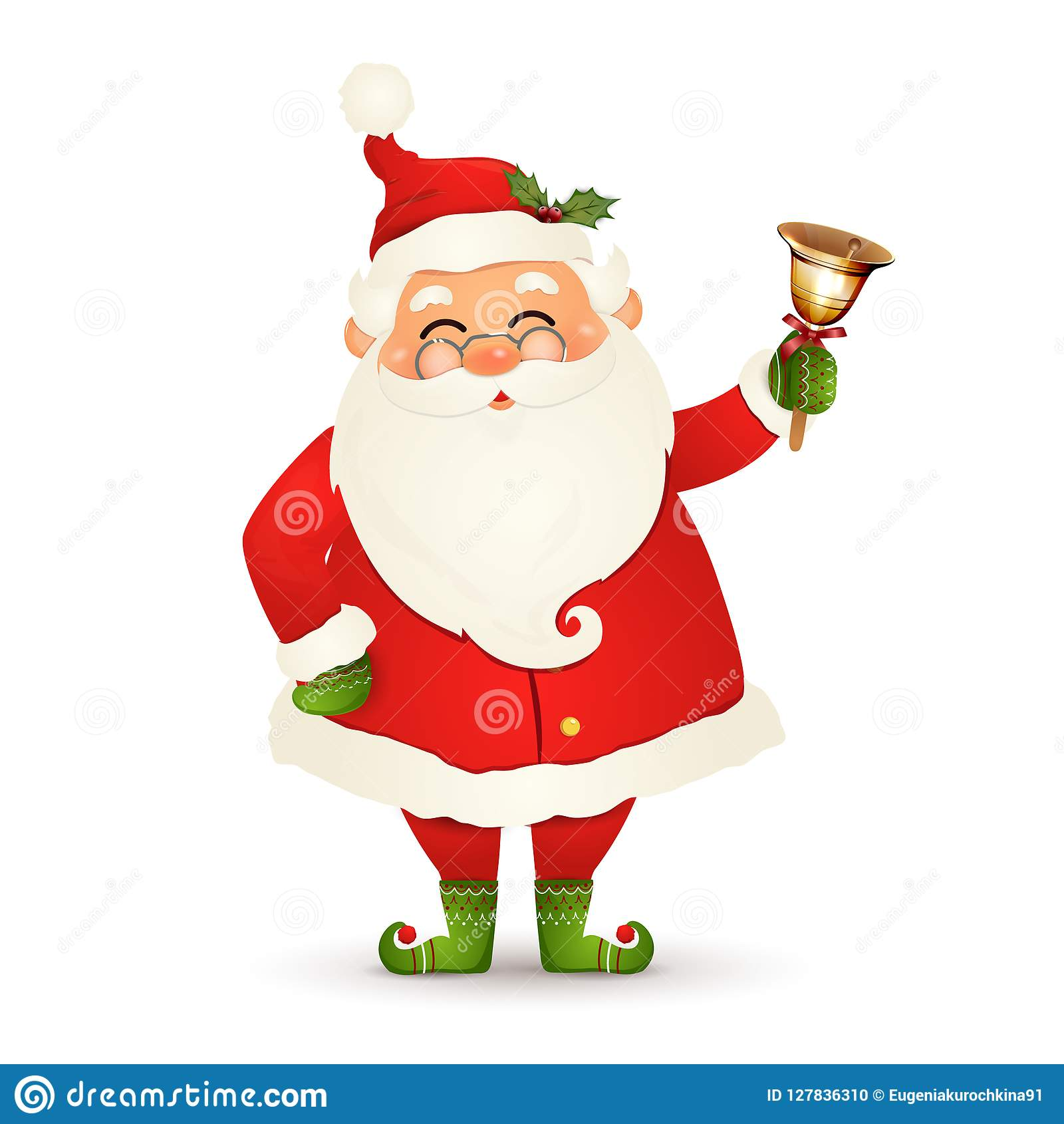 Christmas Cute, Cheerful, Funny Santa Claus With Glasses, Christmas Gold Jingle Bell Isolated On ...