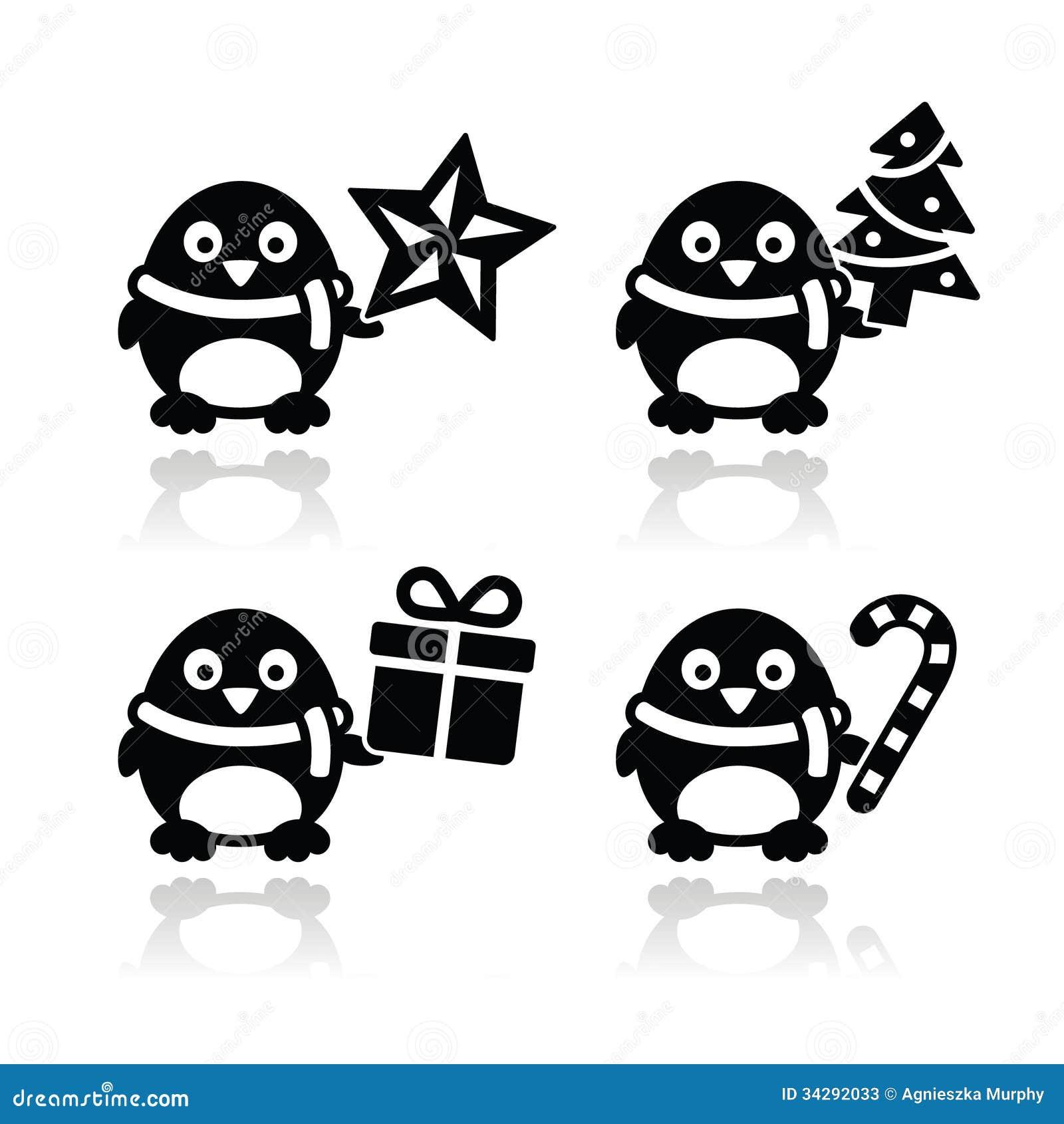 Elegant christmas tree decor - Christmas Cute Penguin Icons Set Stock Photos Image