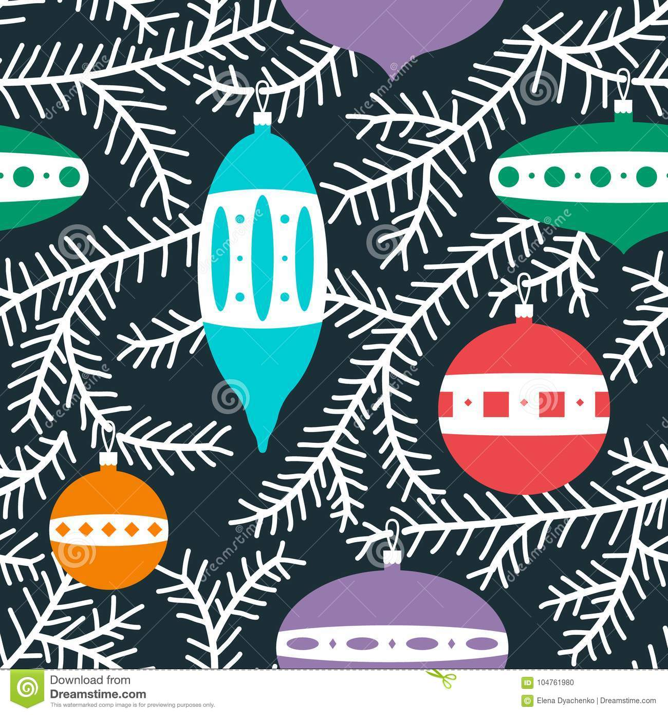 Christmas cute seamless pattern with fur tree branches with deco