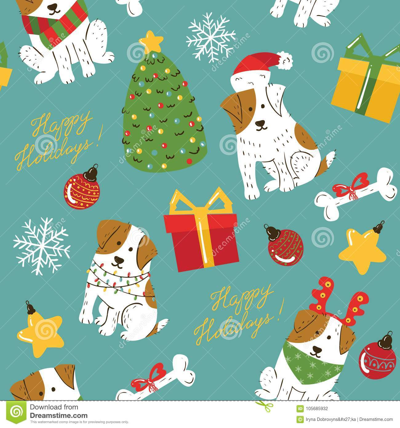 Christmas Cute White Dogs With Brown Spots Seamless Pattern Stock