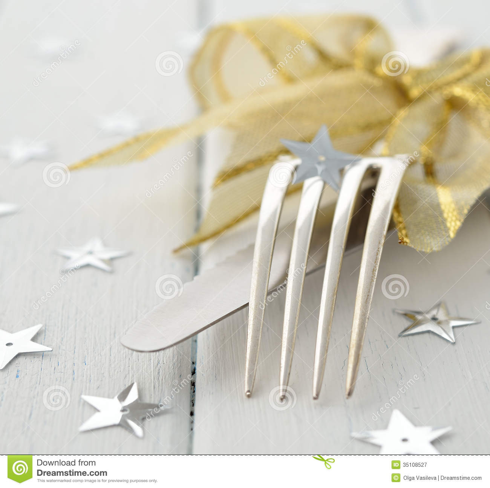 Christmas Cutlery Stock Image Image Of Tableware Star