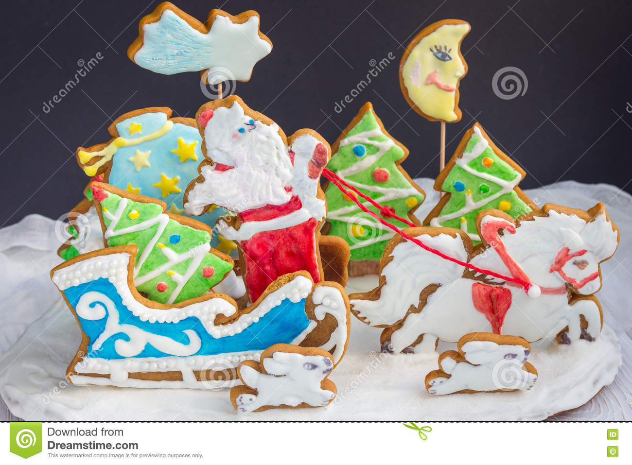 Christmas 3d Composition From Baked Gingerbread Cookies Sleigh