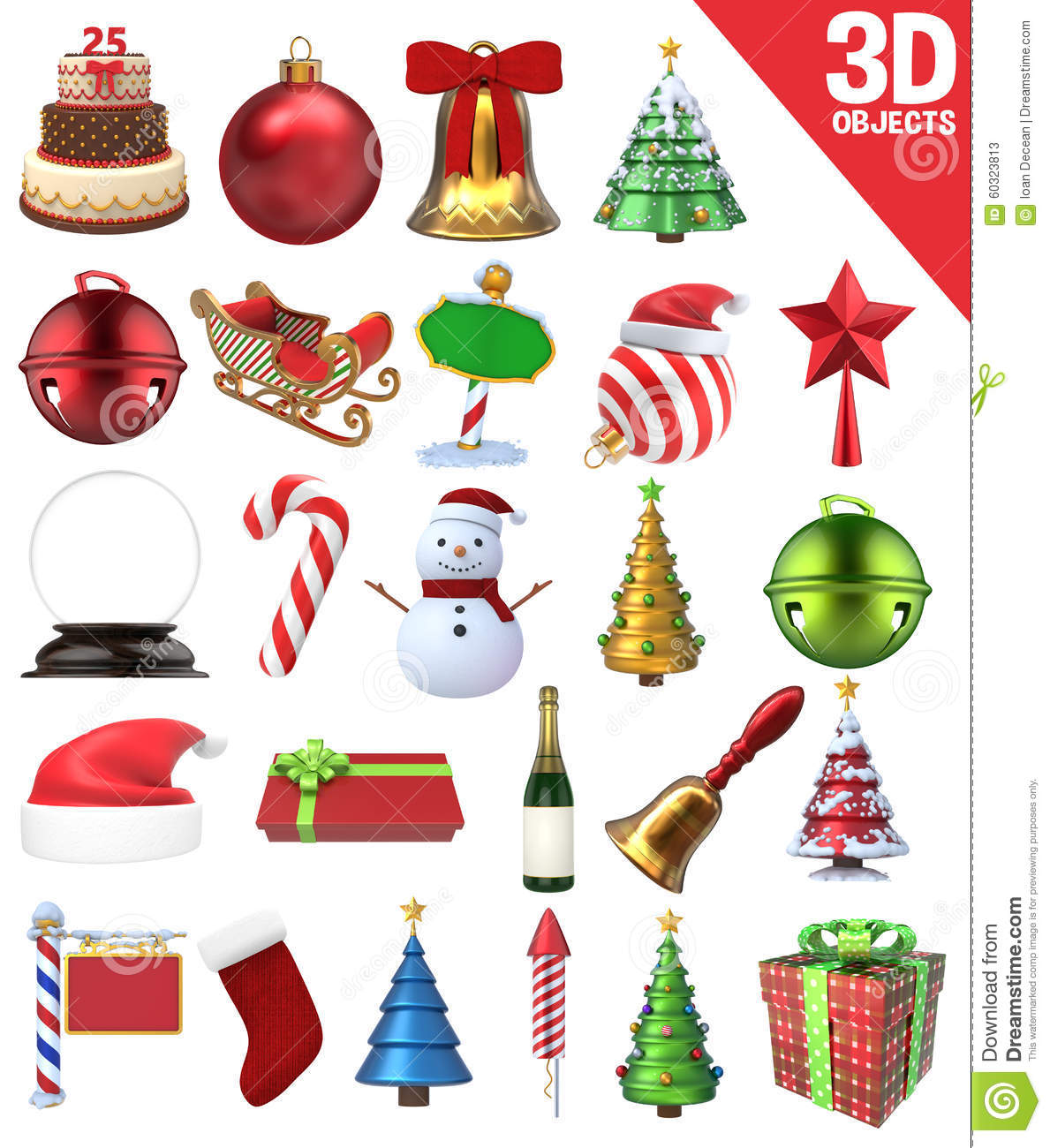 Christmas 3D Objects Set Stock Photo - Image: 60323813