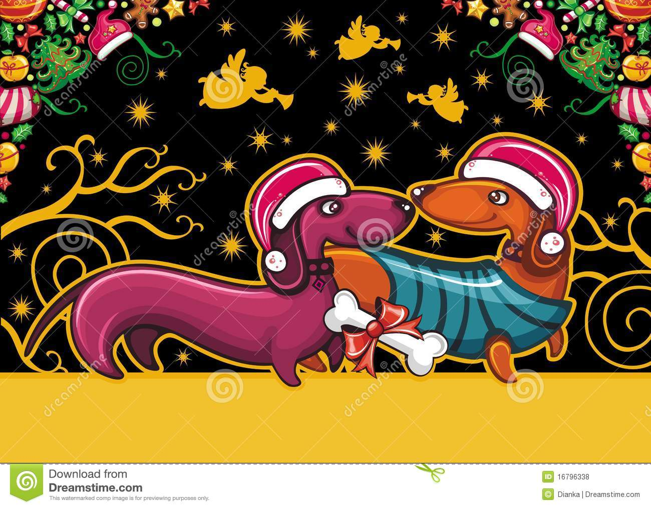 Christmas Dachshund Greeting Card Stock Vector Illustration Of