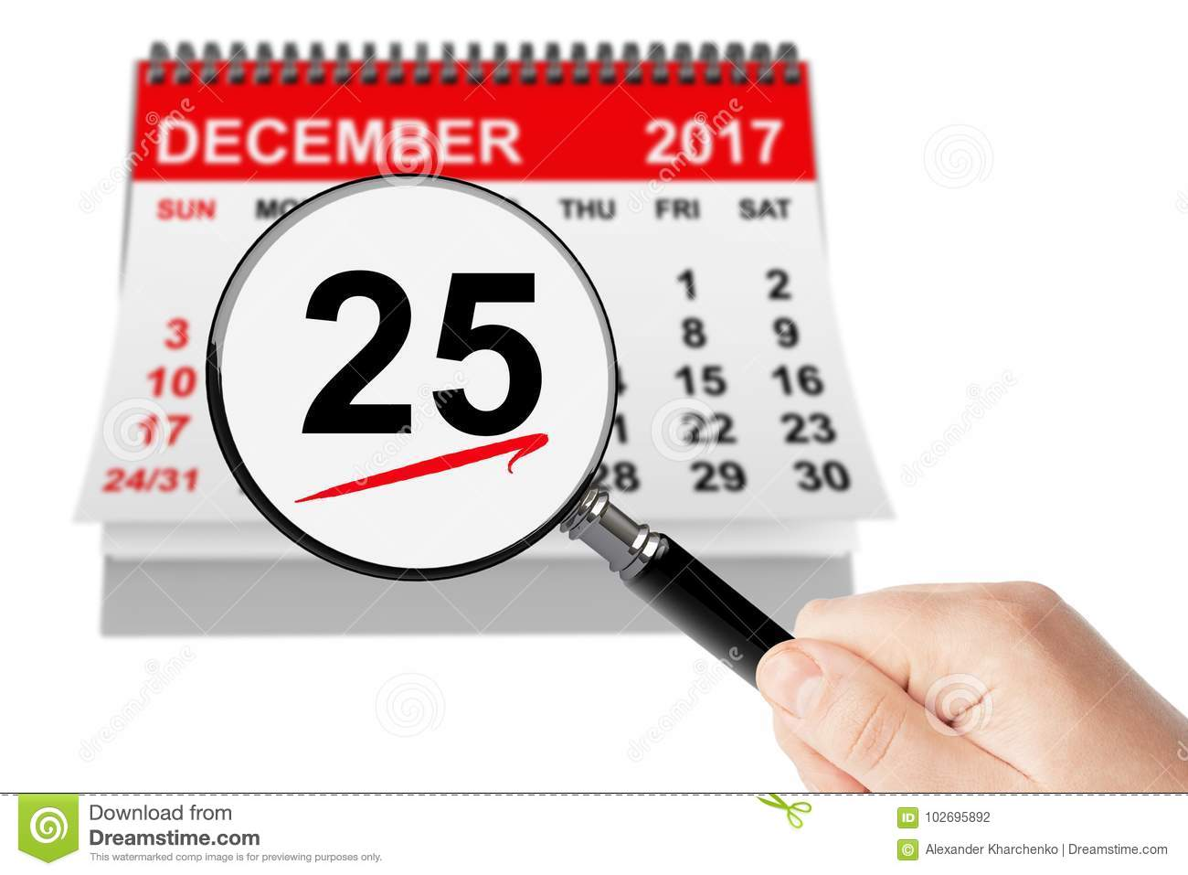 Download Christmas Day Concept. 25 December 2017 Calendar With Magnifier Stock Photo - Image of number, christmas: 102695892