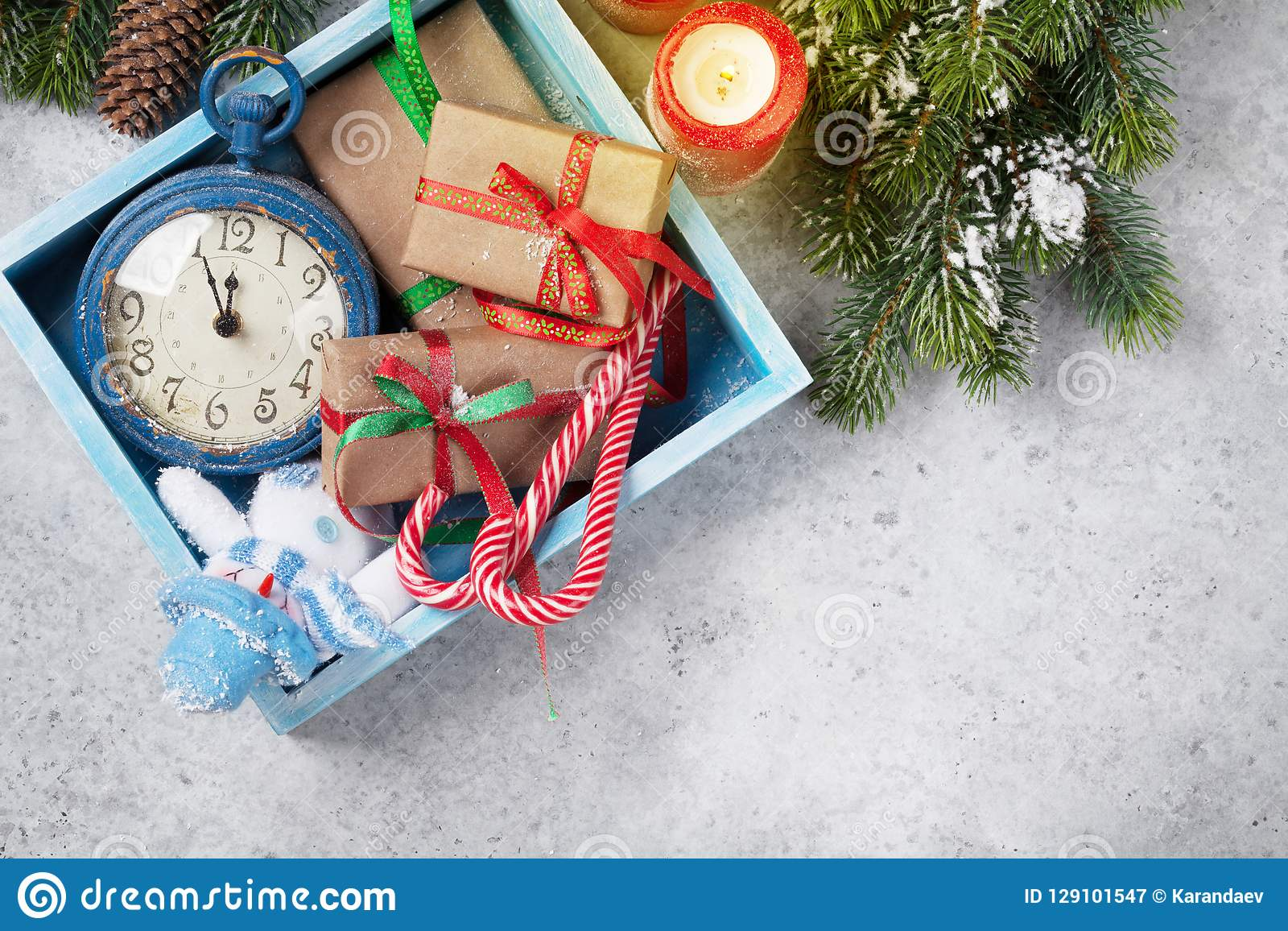 Christmas Decor Box Gift Boxes Candles Stock Image Image Of Celebration Season 129101547