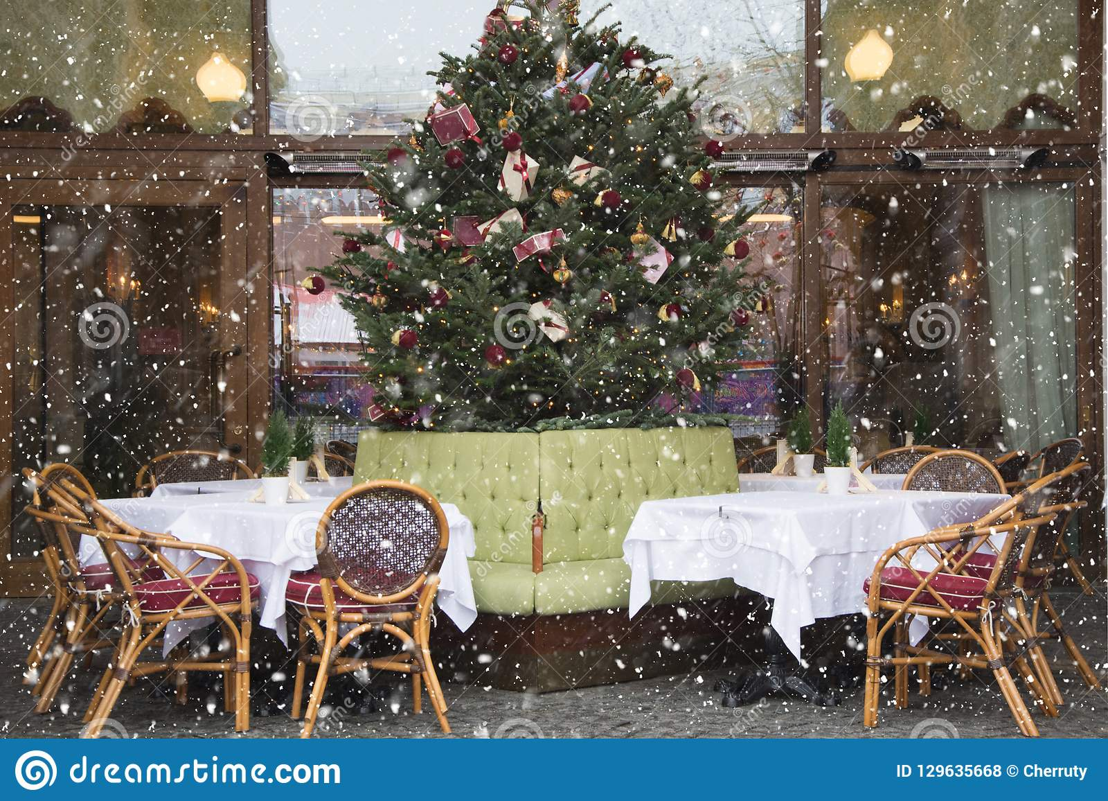 Christmas Decor In Cafe Or Restaurant Outdoor Stock Photo Image Of Europe Outside 129635668