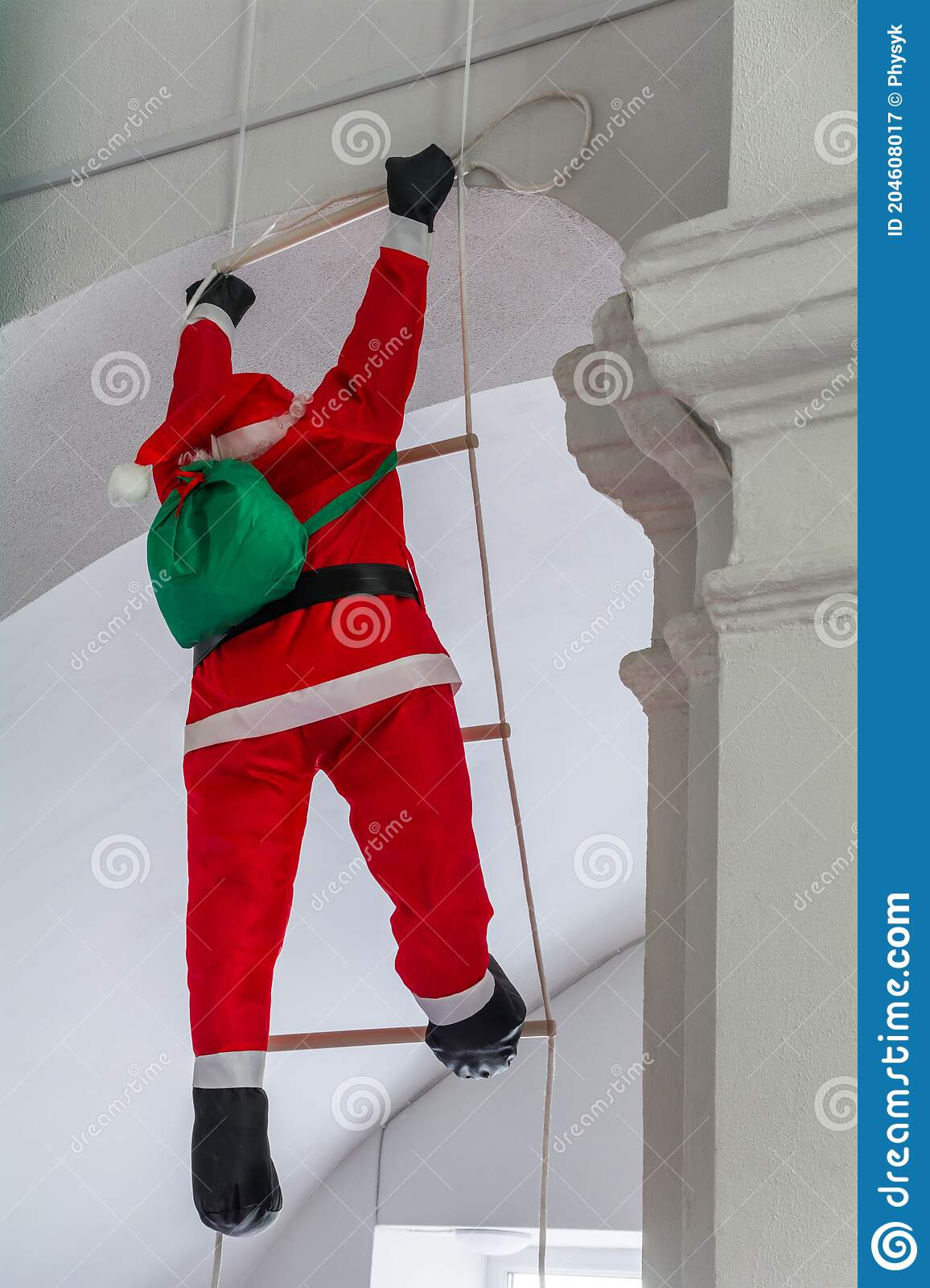 Christmas Decor Decorative Santa Claus With Gifts Climbs The Rope Ladder Stock Image Image Of Cornice Claus 204608017