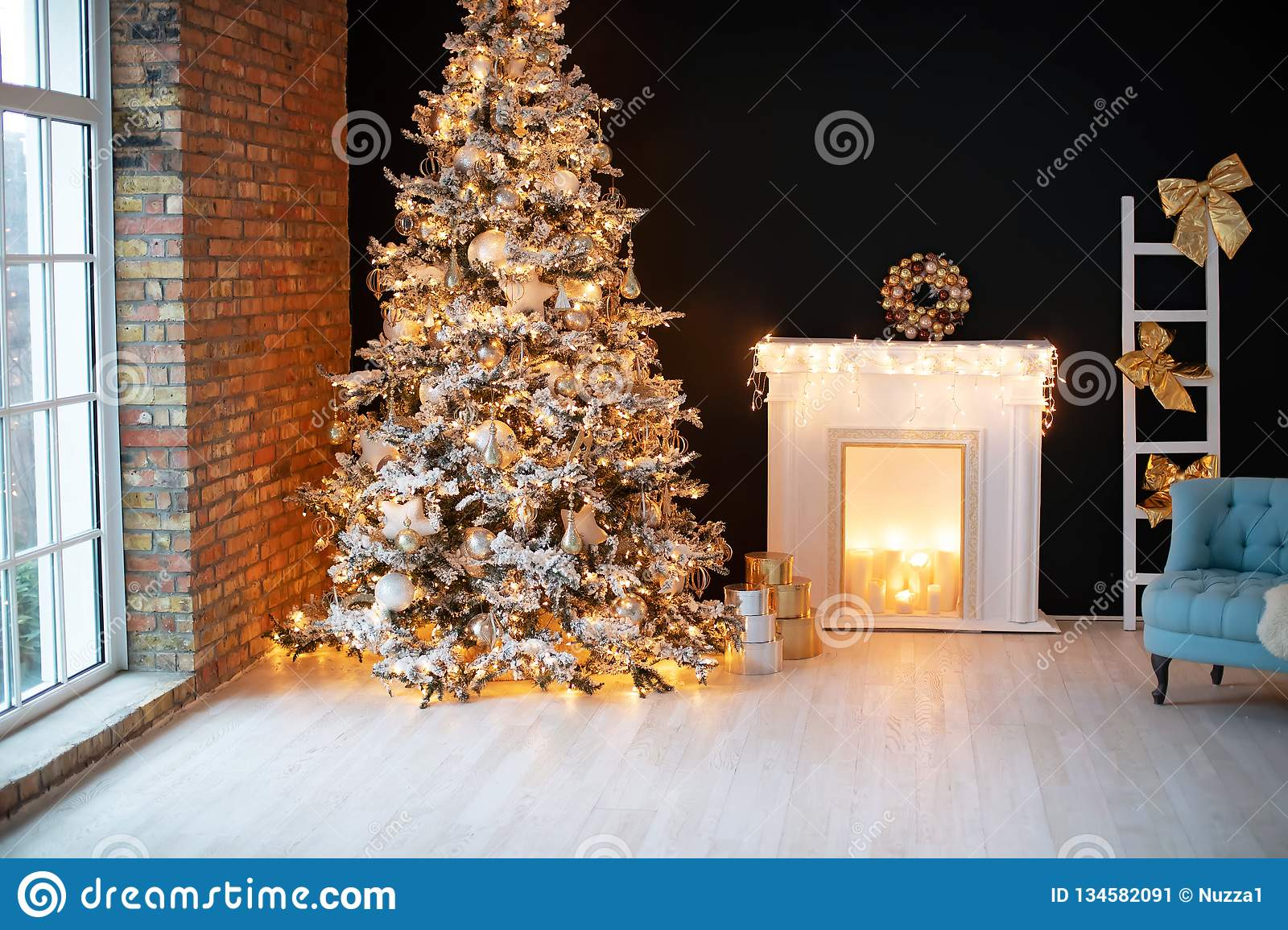 Beautiful Christmas Decor In A Cozy Home Stock Image Image Of Comfort Design 134582091