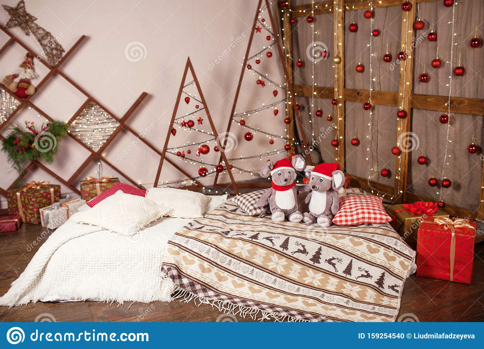 Christmas Decor Mattress On Floor With Pillows And Cosy Plaid Ftv Soft Toy Grey Rats On Christmas Background Symbol Of The Stock Photo Image Of Interior Mattress 159254540