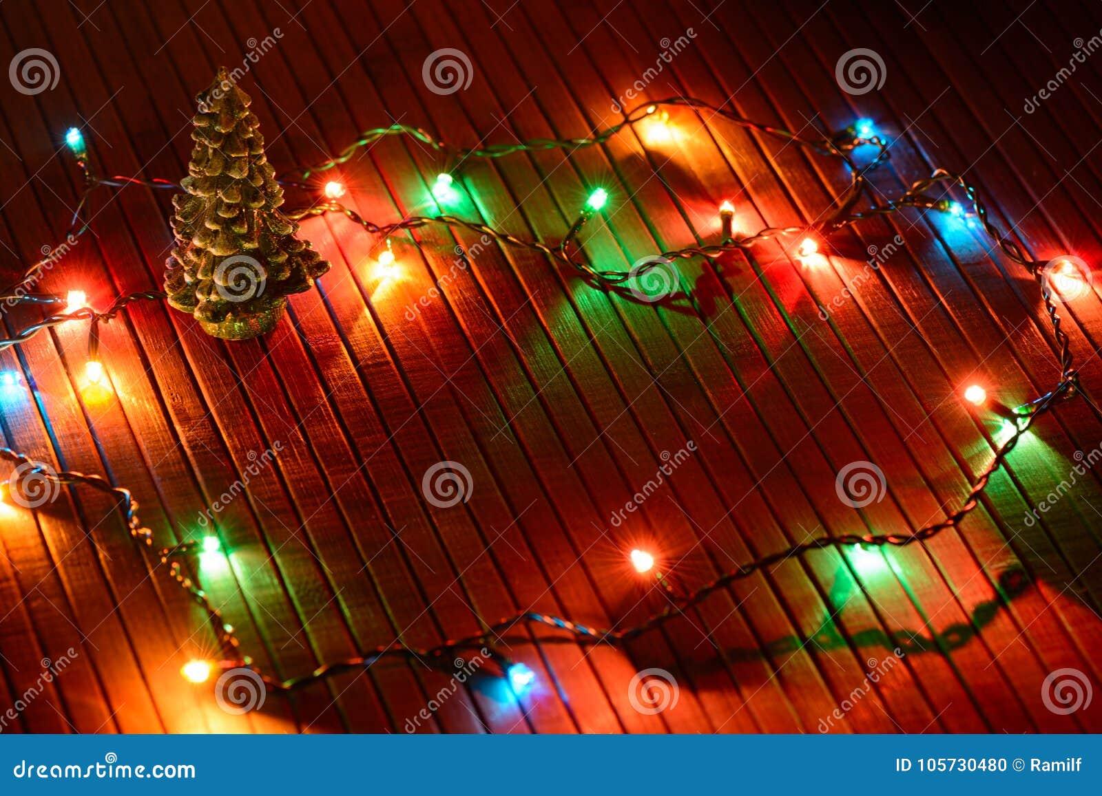 Christmas decor miniature Xmas tree and glowing lights