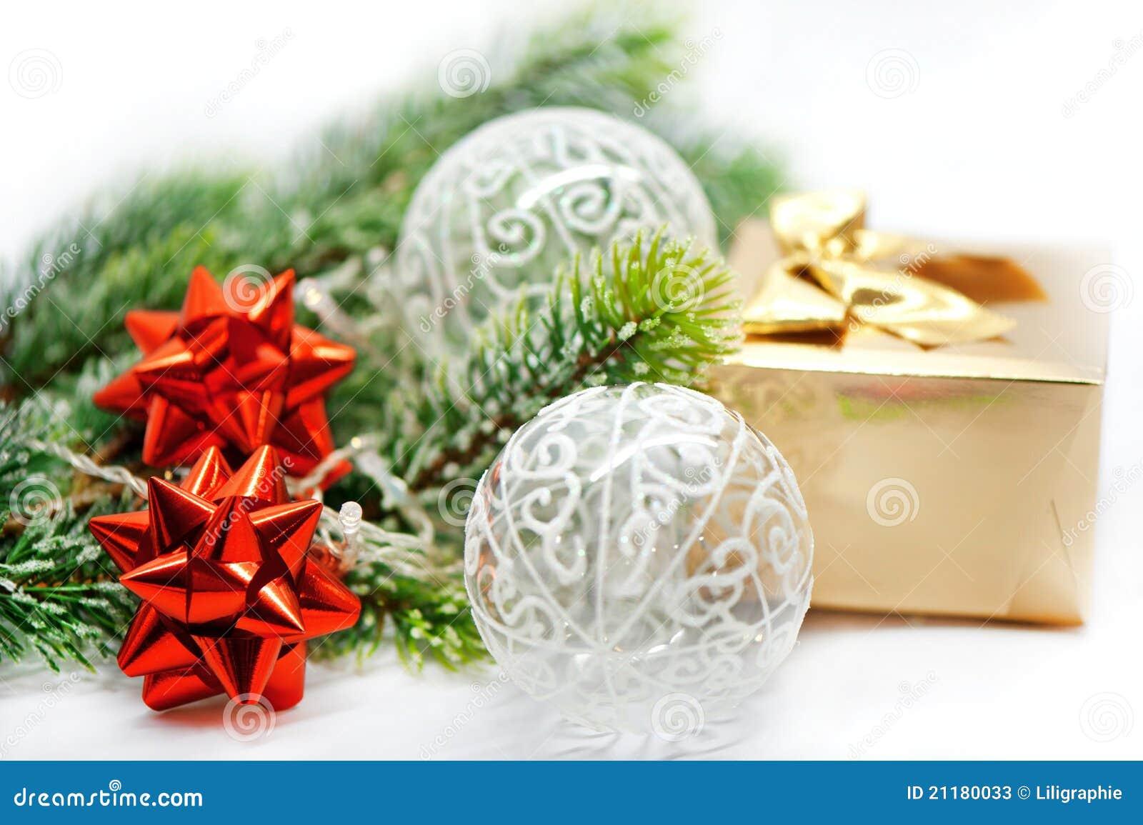 Christmas decor. red ribbon, golden gift, balls