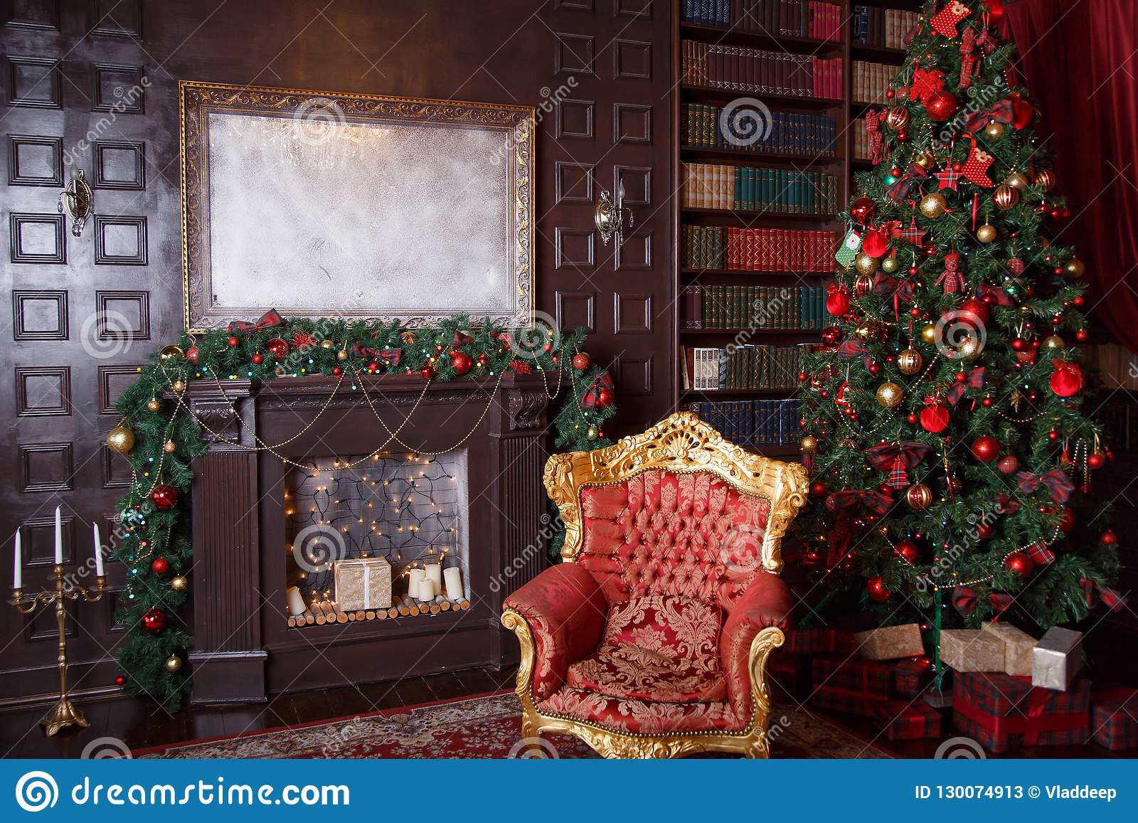 Christmas Decor In Royal Living Room With A Vintage Armchair