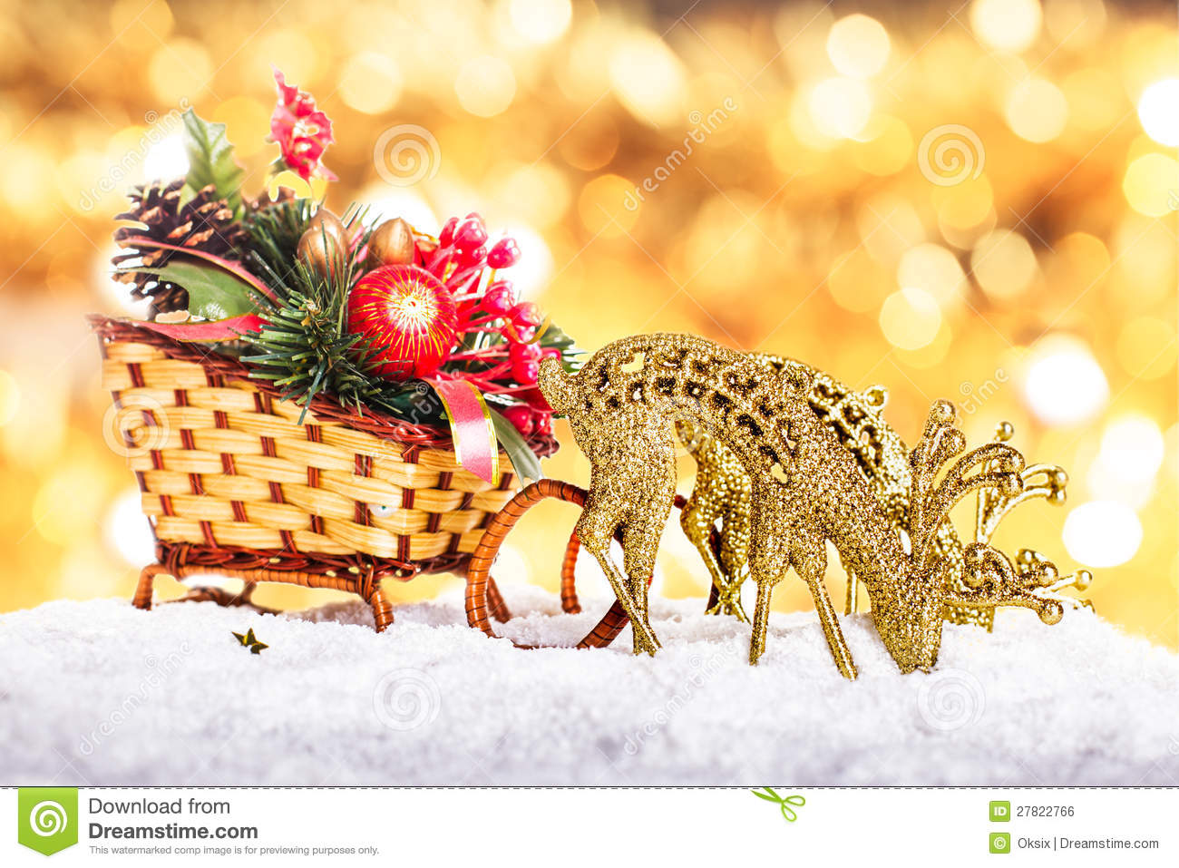 Christmas Decor: Sleigh And Reindeers Stock Photo - Image of ...