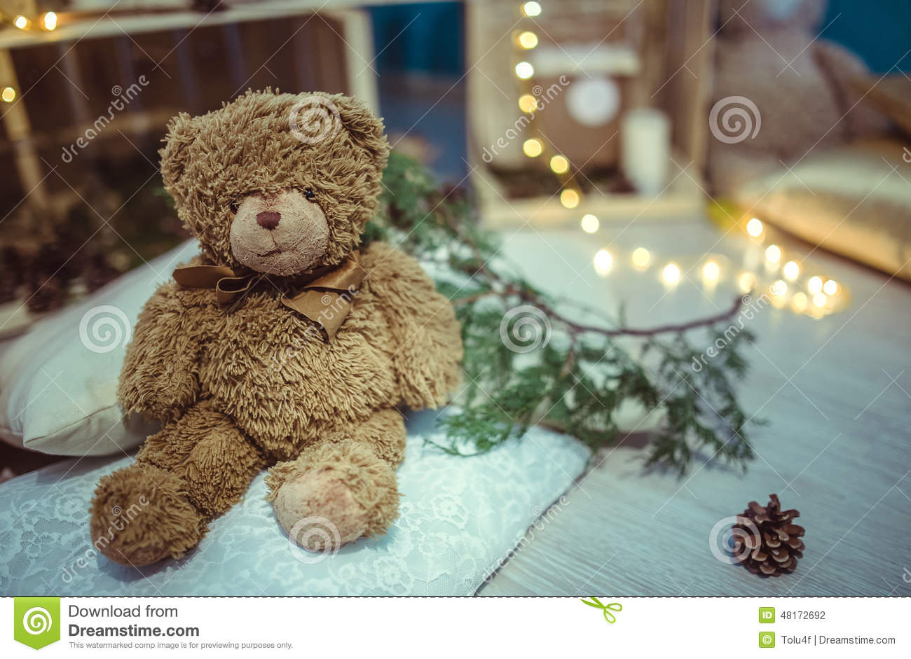 Christmas decor teddy bear and light stock photo image for Bear decorations for home