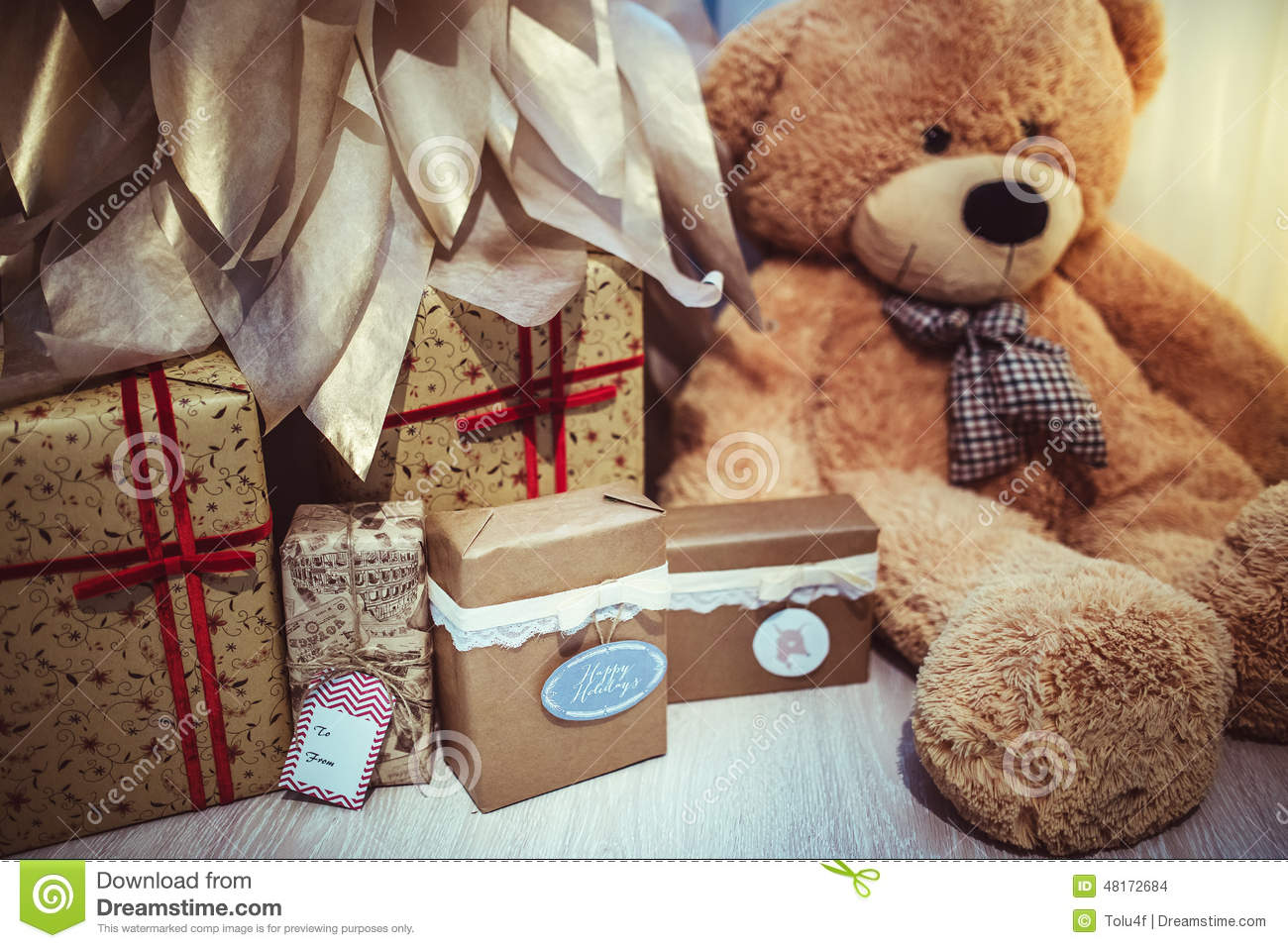 Christmas decor teddy bear stock photo image 48172684 for Bear decorations for home