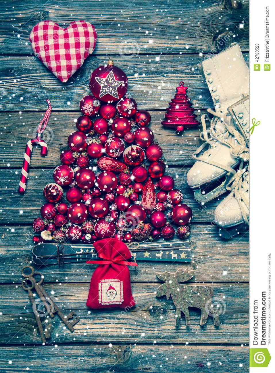 Christmas decoraion in red and white on wood in rustic vintage s