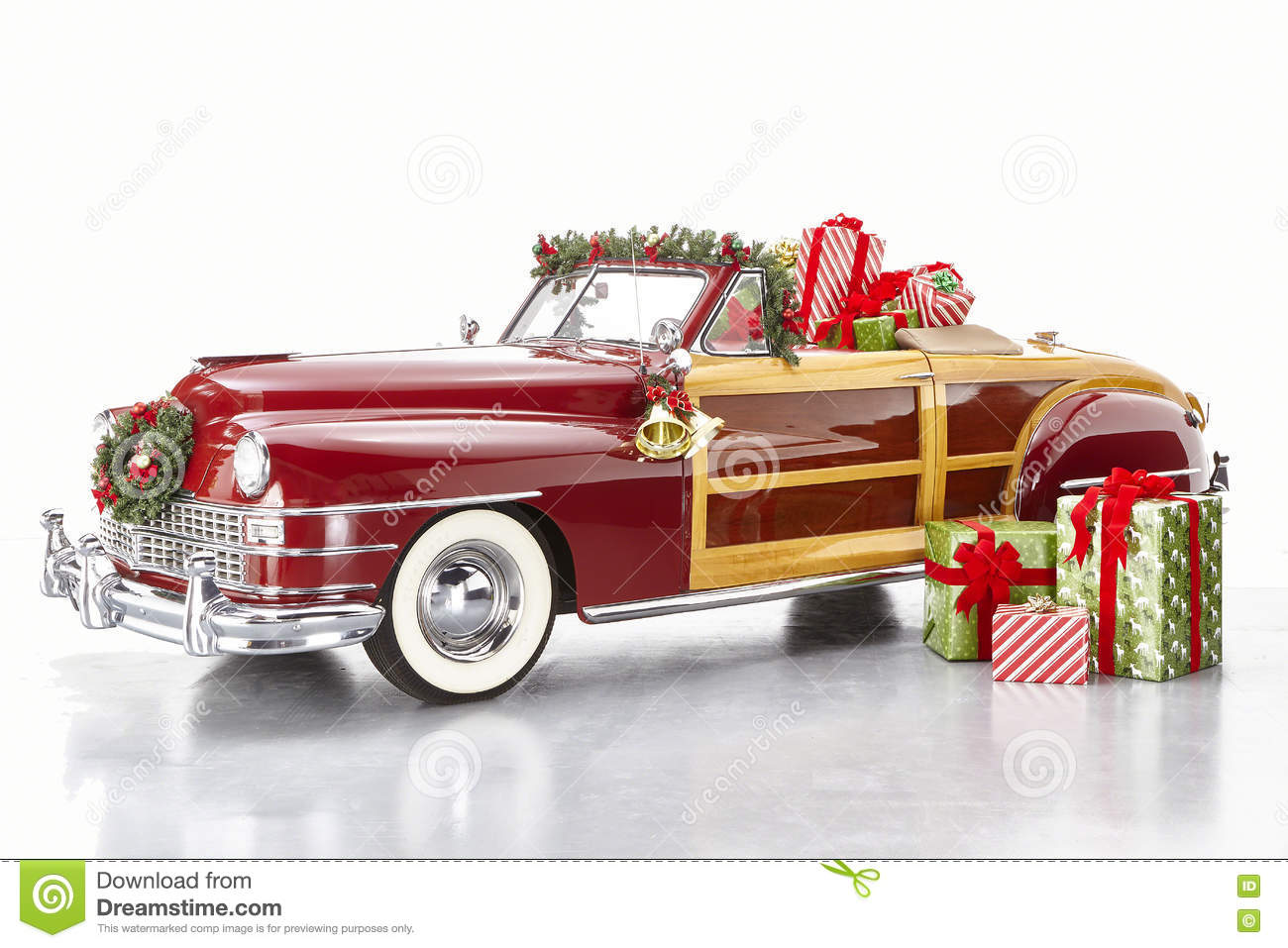 Christmas decorated classic car stock photo image