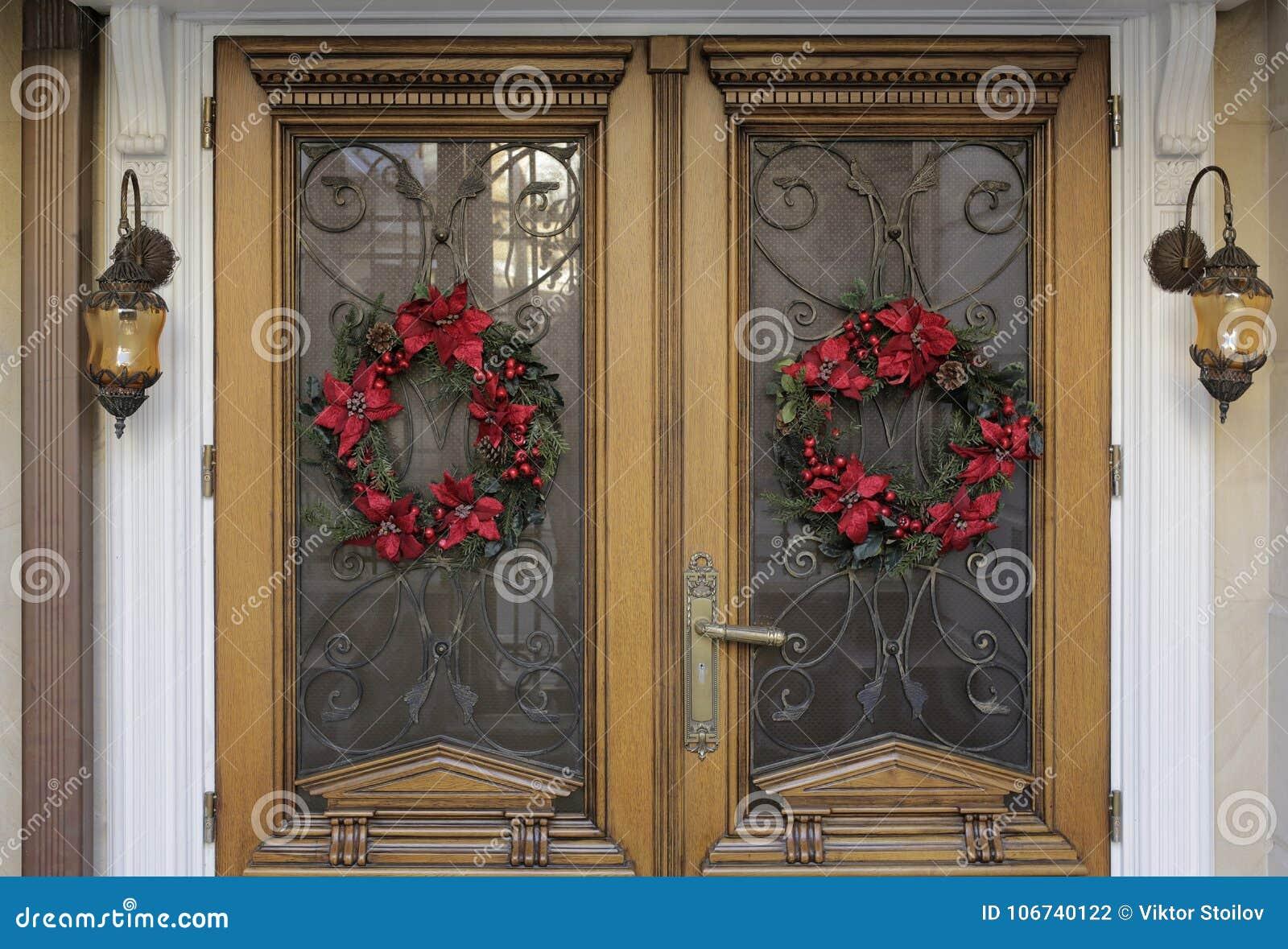 Christmas decorated doorstep