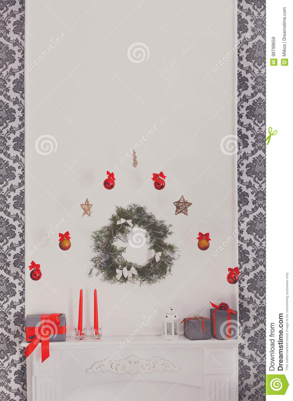 Christmas Decorated Fireplace In Modern Interior Holiday Concept