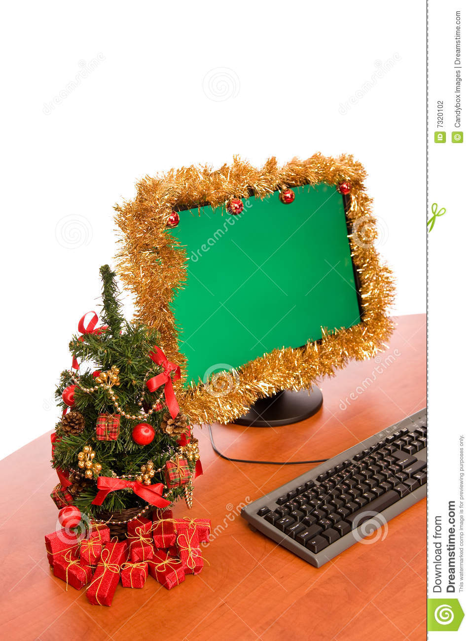 Christmas Decorated Office Desk Stock Photography Image
