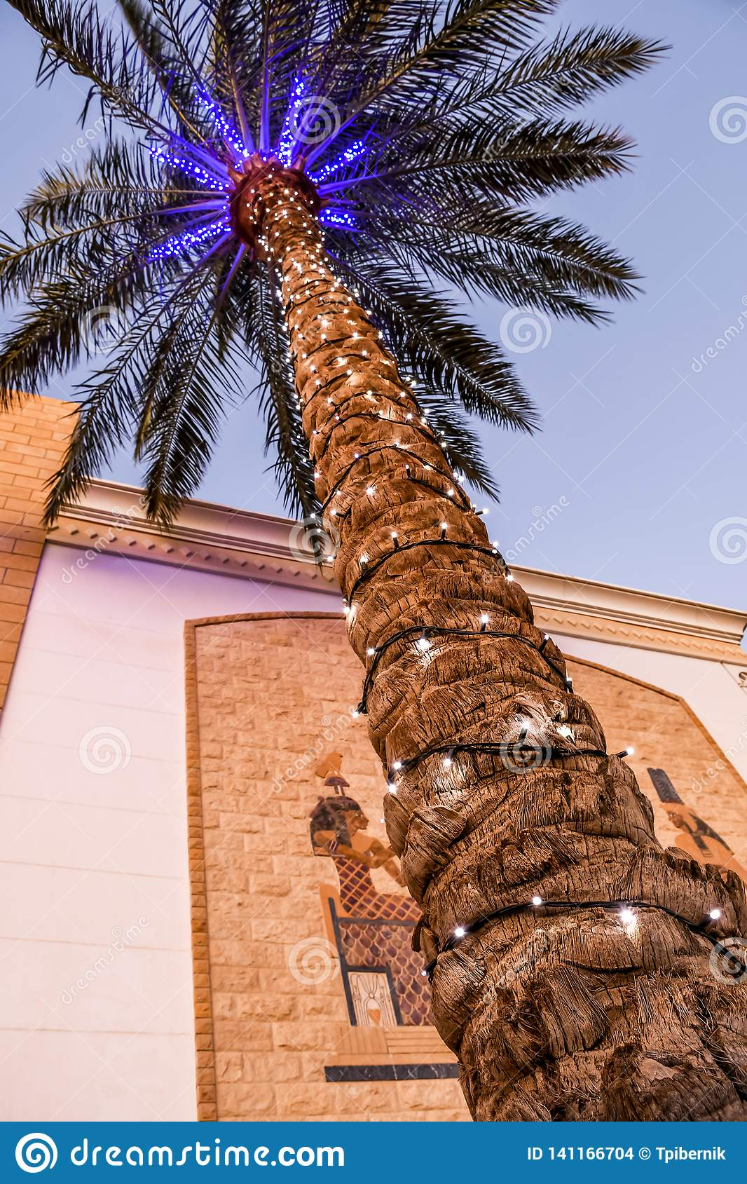Christmas decorated palm tree with lights and Egypt theme mosaic painting