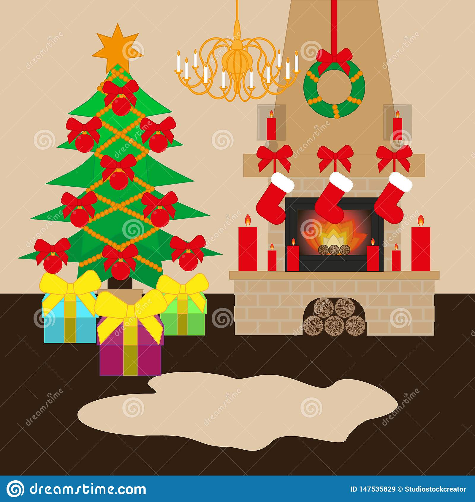 Christmas decorated room with xmas tree and fireplace. Flat style vector illustration.