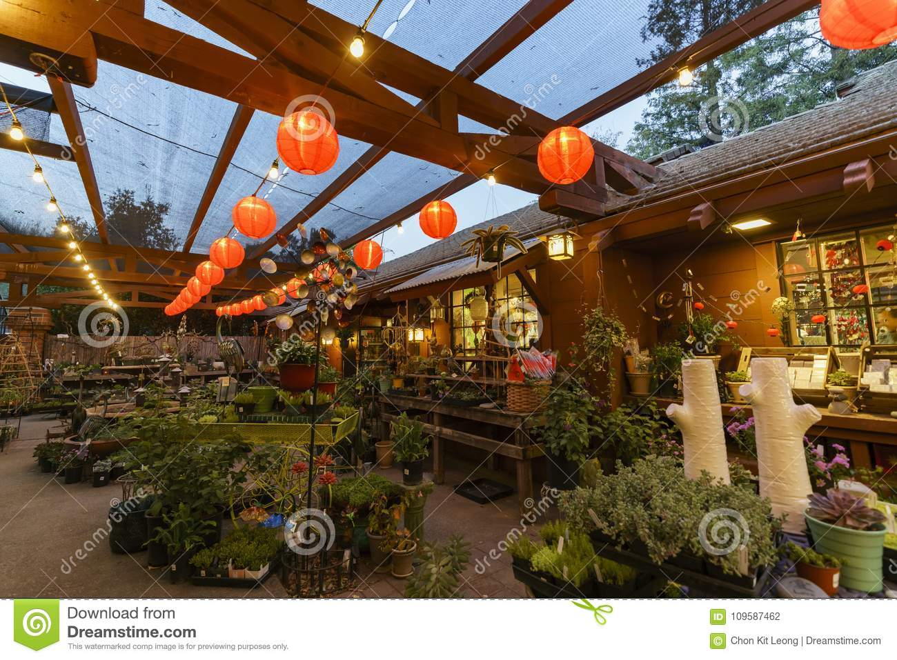 Christmas Decorated Shop In Descanso Garden Stock Photo - Image of ...