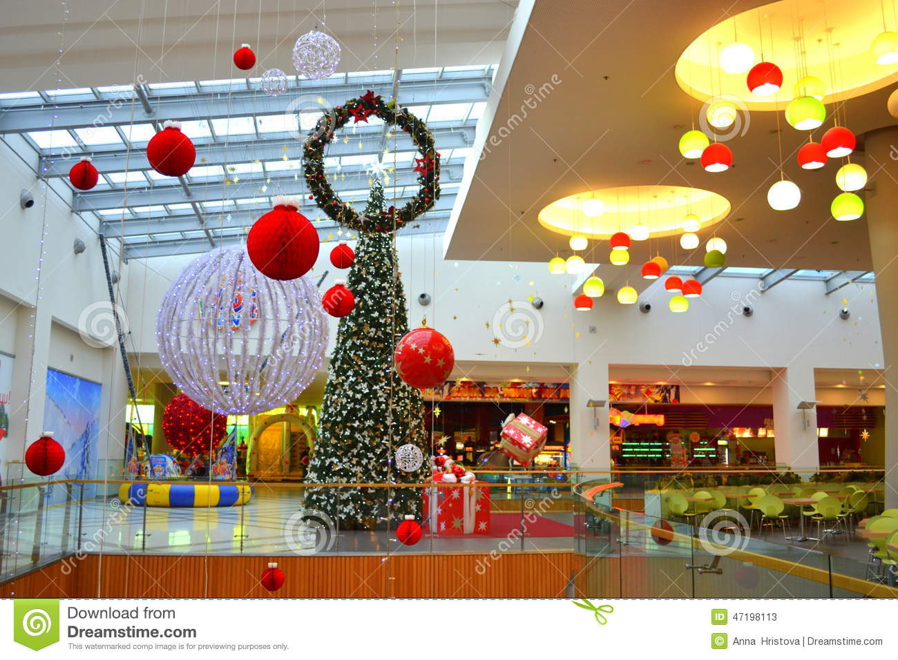 Christmas decorated shopping mall stock image image for Christmas decorations online shopping