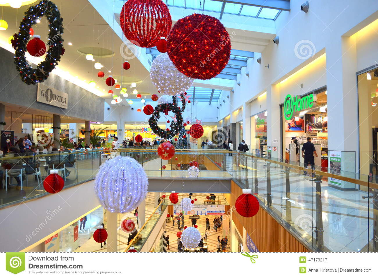 Christmas decorated shopping mall editorial photography for Christmas decoration online shop