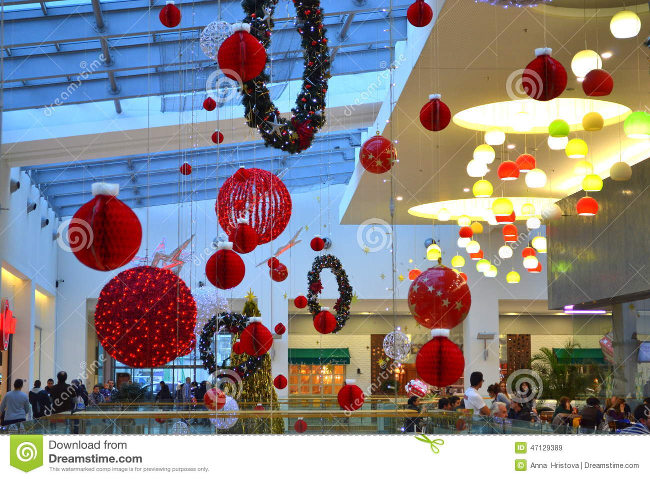 Christmas decorated shopping mall editorial stock image for Christmas decorations online shopping