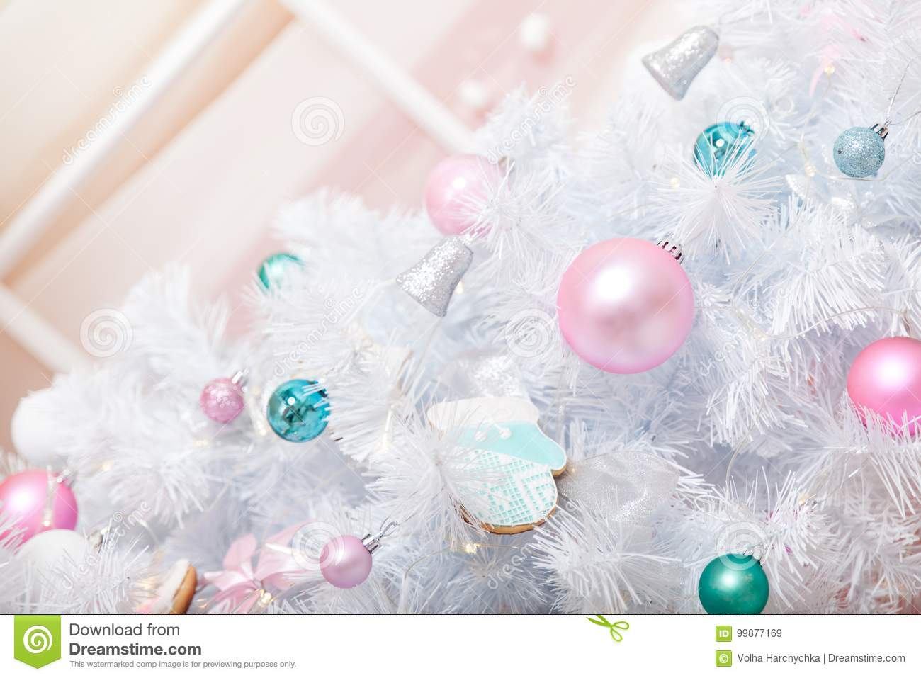 a christmas decorated studio in pastel colors