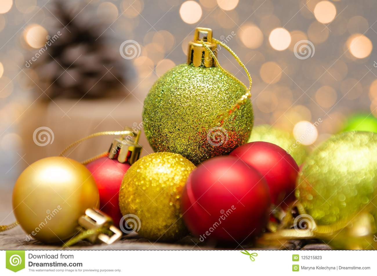 download christmas decoration on abstract background gold red and green colors stock image - Why Are Christmas Colors Red And Green