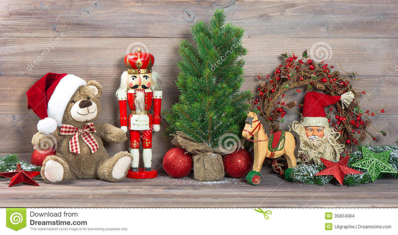 Retro Christmas Toy : Christmas decoration with antique toys teddy bear stock