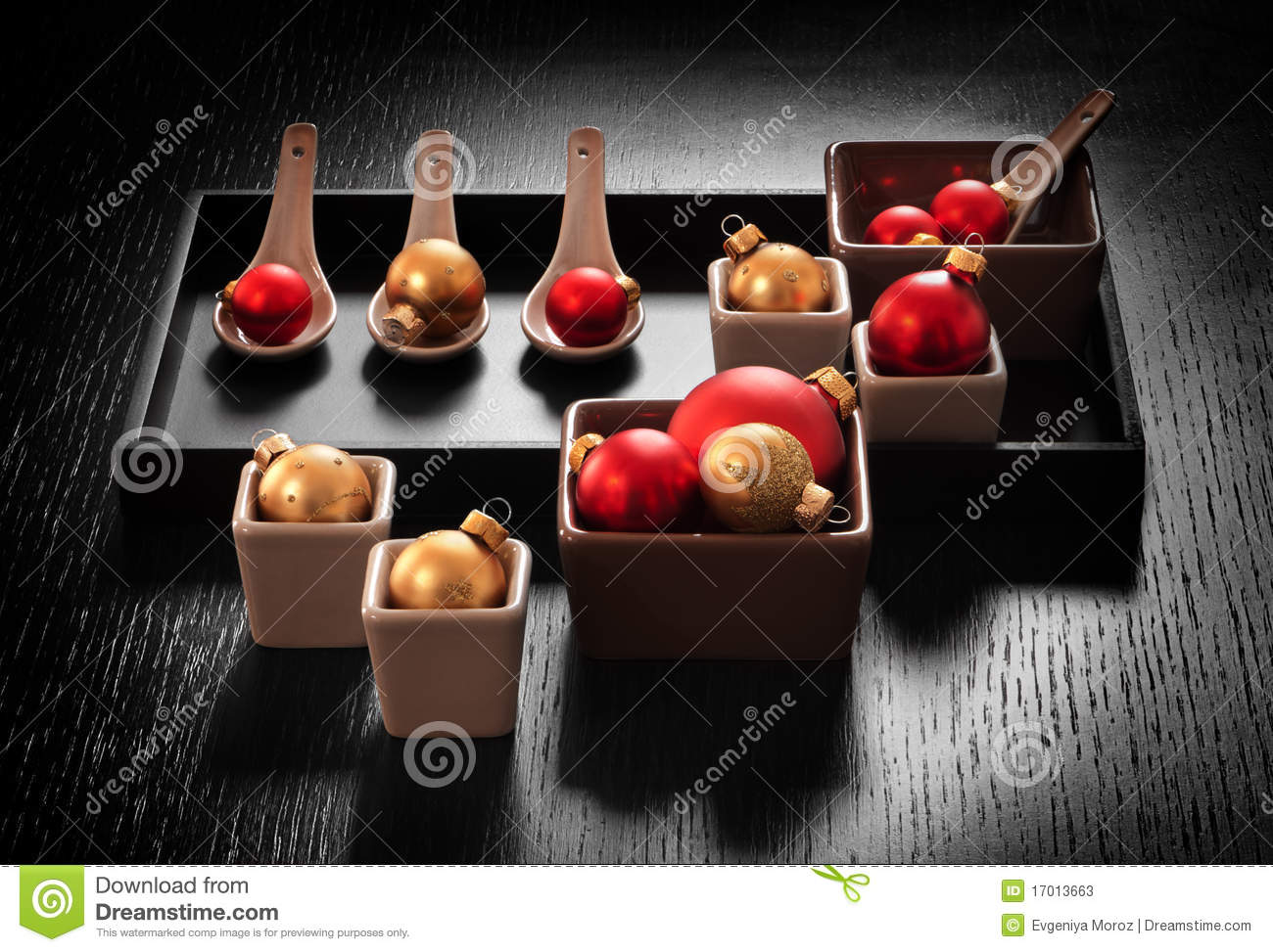 Christmas decoration in appetizer dishware stock photos for Appetizer decoration
