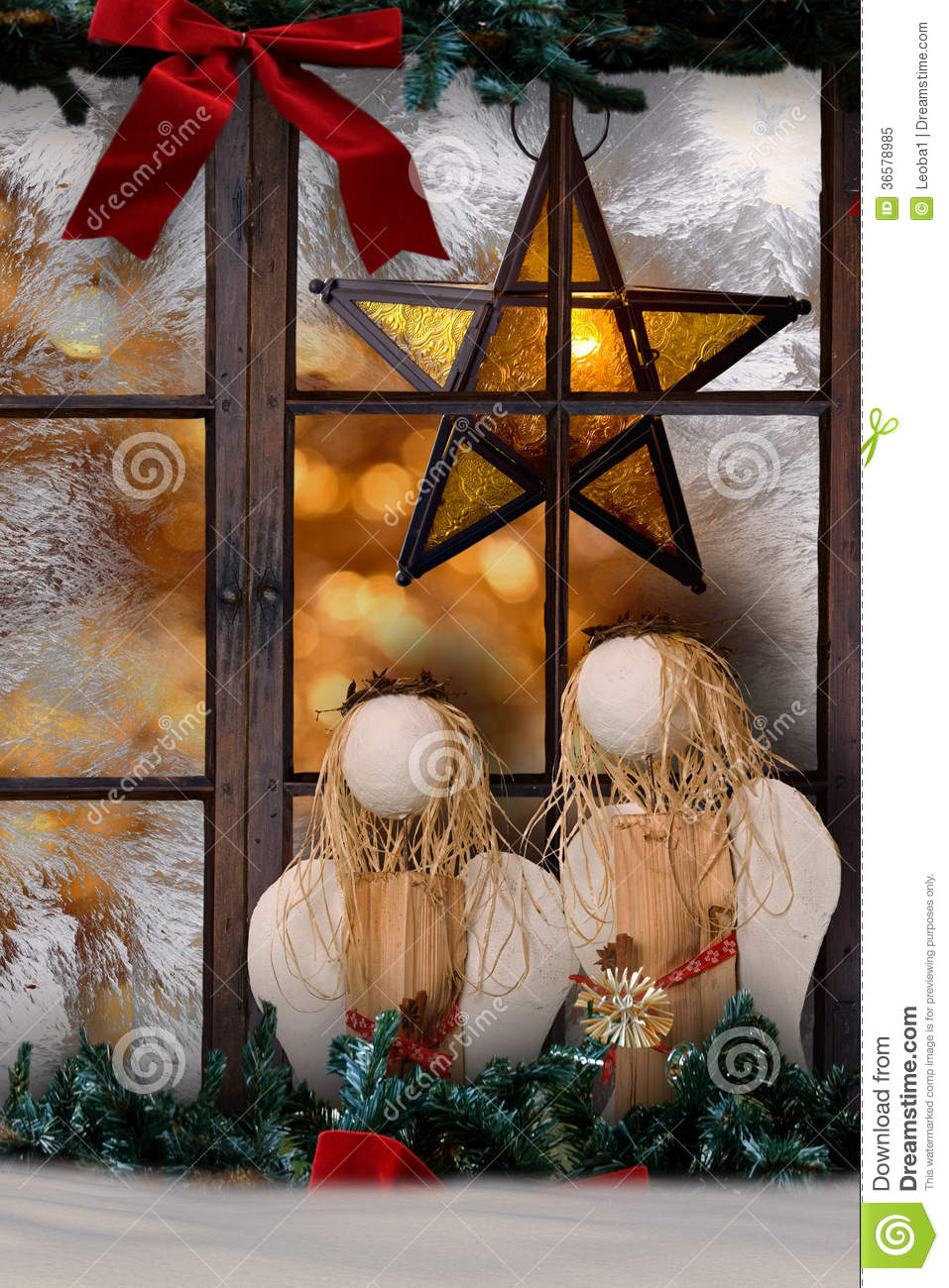 christmas decoration atmospheric window decoration with shining star royalty free stock photo. Black Bedroom Furniture Sets. Home Design Ideas