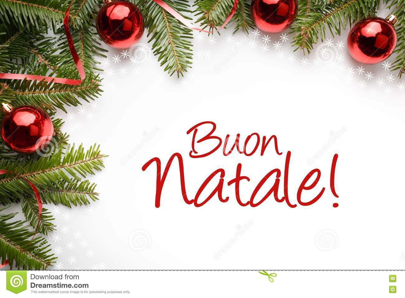 Christmas Decoration Background With Christmas Greeting In Italian