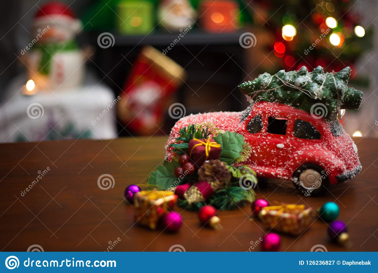 Red Car With Christmas Tree On Top Stock Image Image Of Festive Celebration 126236827