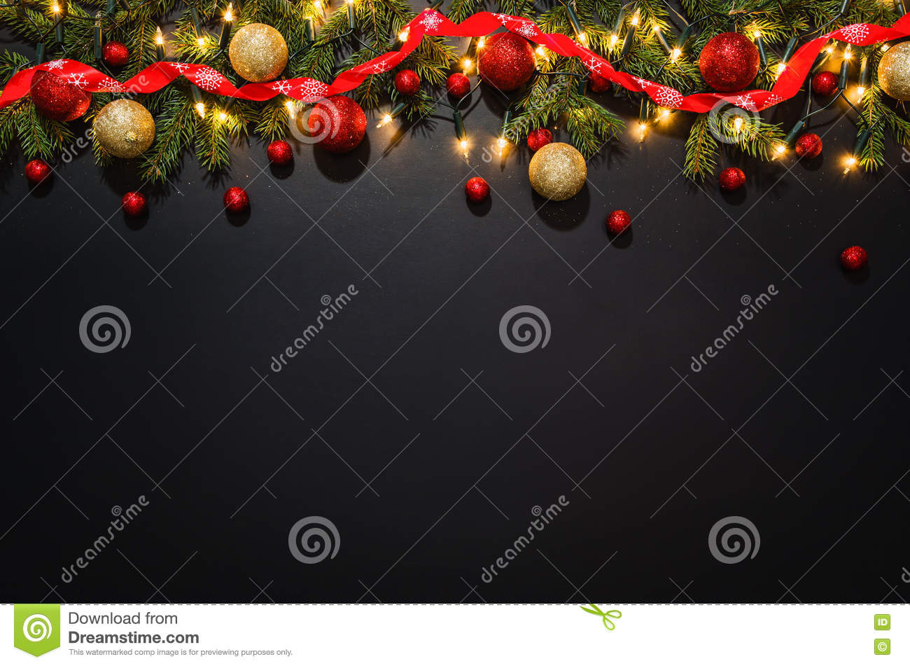 Christmas Decoration Background Over Black Chalkboard Stock