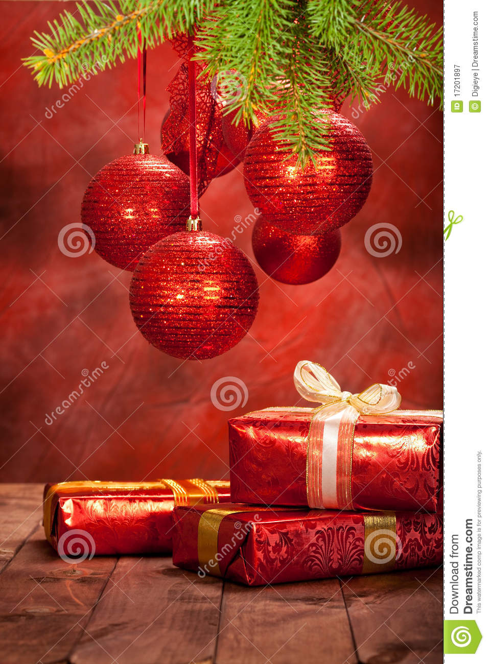 Christmas decoration balls and gifts royalty free stock for Christmas decoration stuff