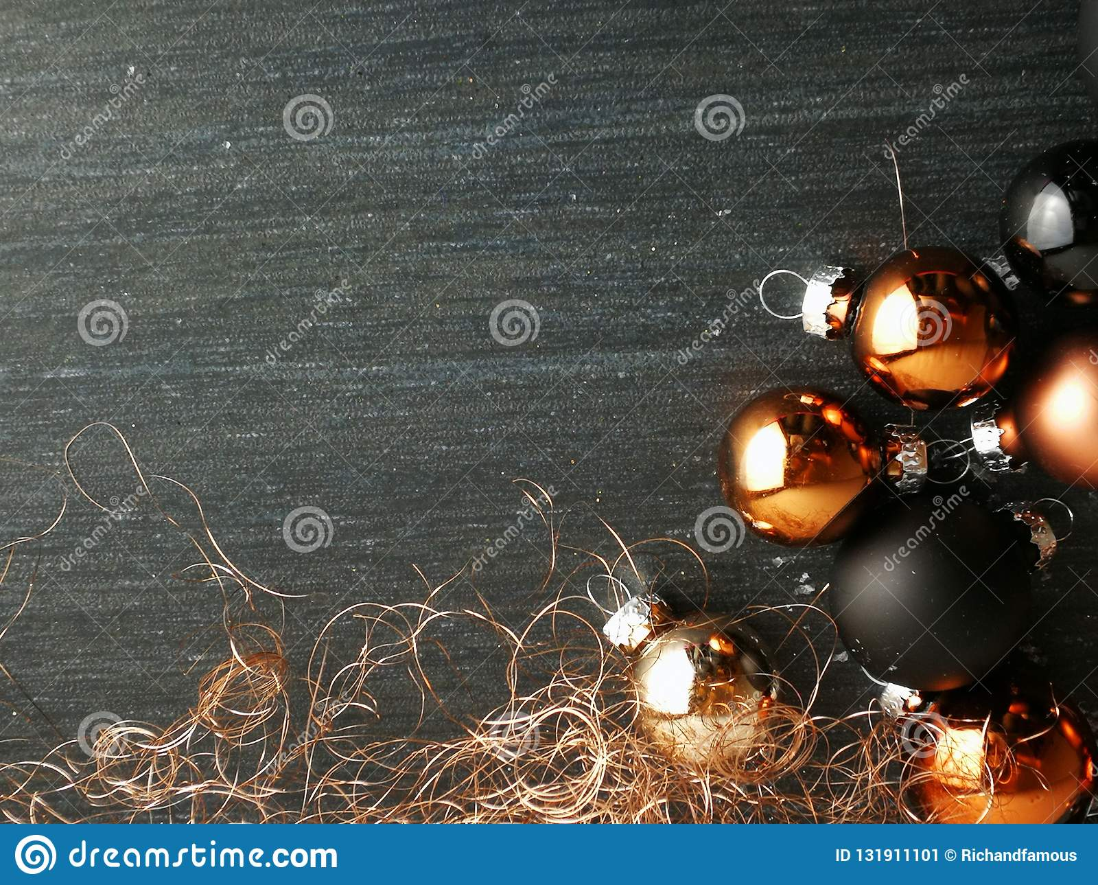 Christmas Decoration With Baubles Colored Black And Copper Stock Image Image Of Background Colored 131911101