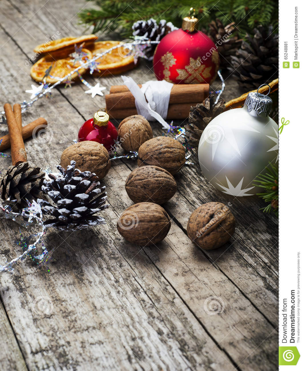 Christmas decoration with baubles walnuts stock photo for Baking oranges for christmas decoration
