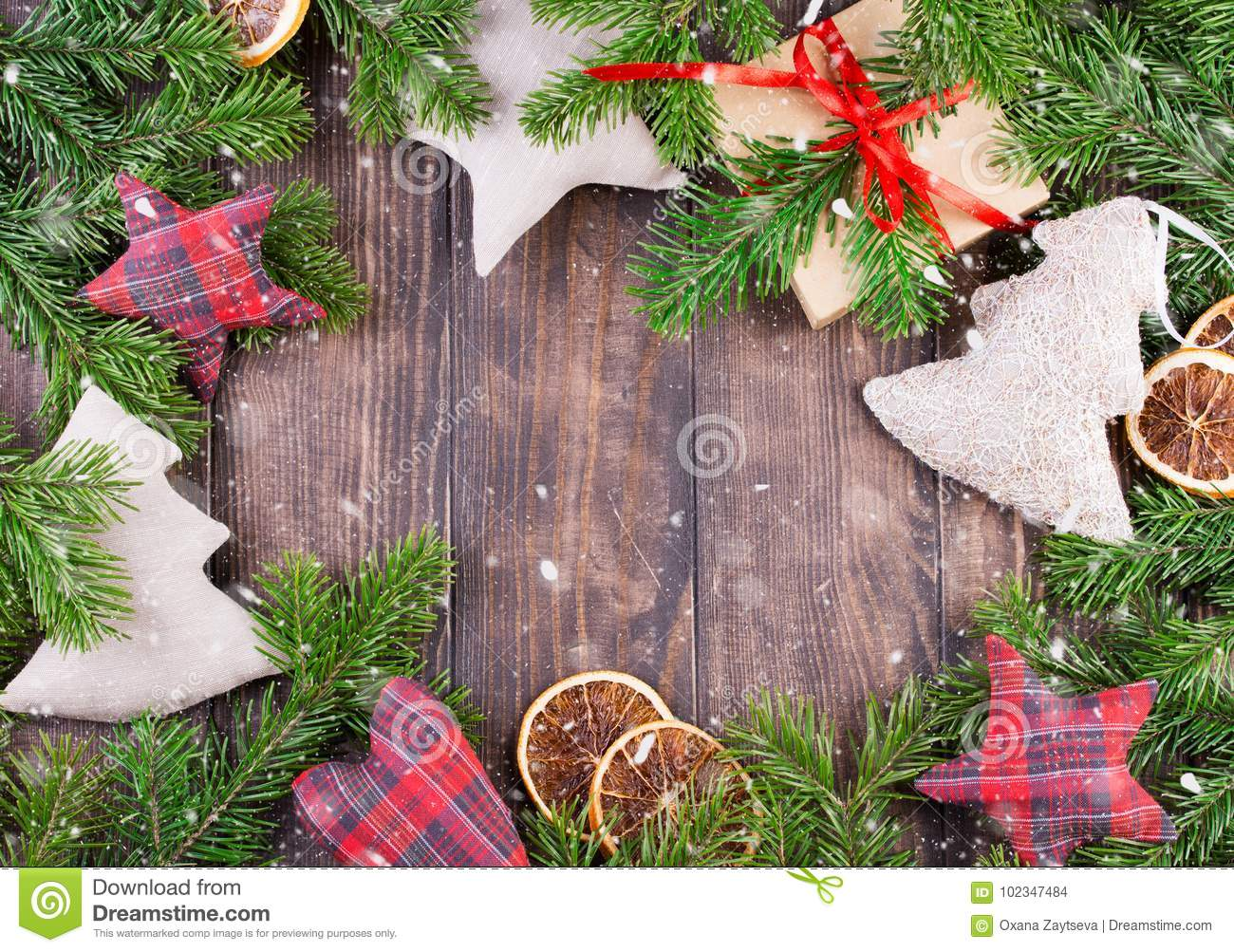 Border, Frame From Christmas Tree Branches With Pine Cones And Holly ...