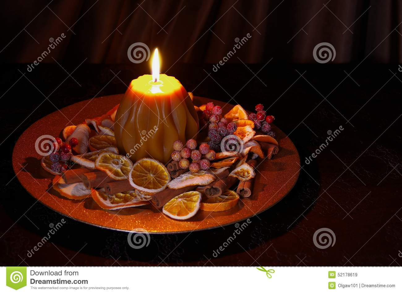 Christmas decoration with candle stock image image 52178619 for Candle decoration with waste material