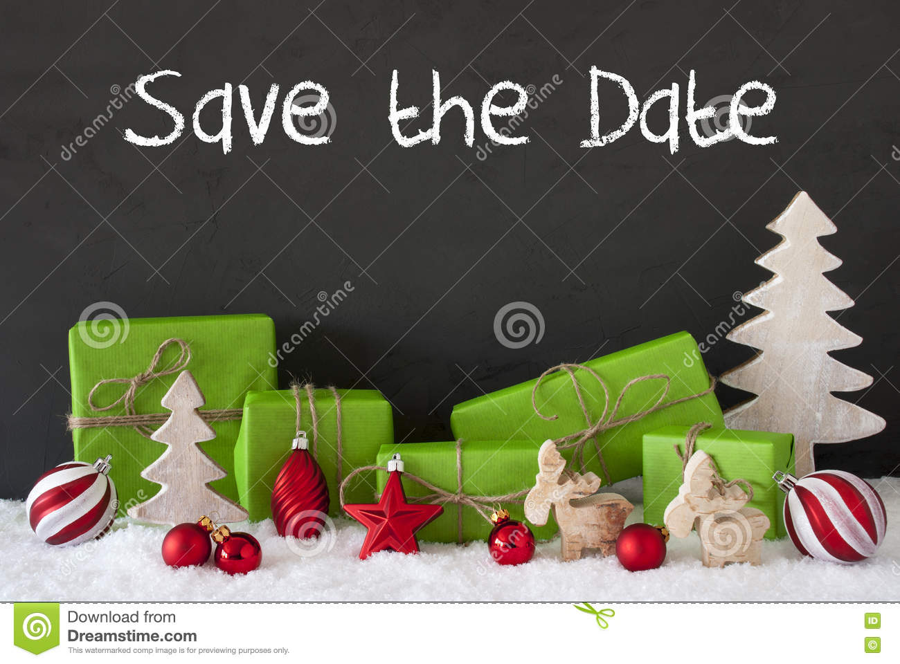 Christmas Save The Date.Christmas Decoration Cement Snow English Text Save The