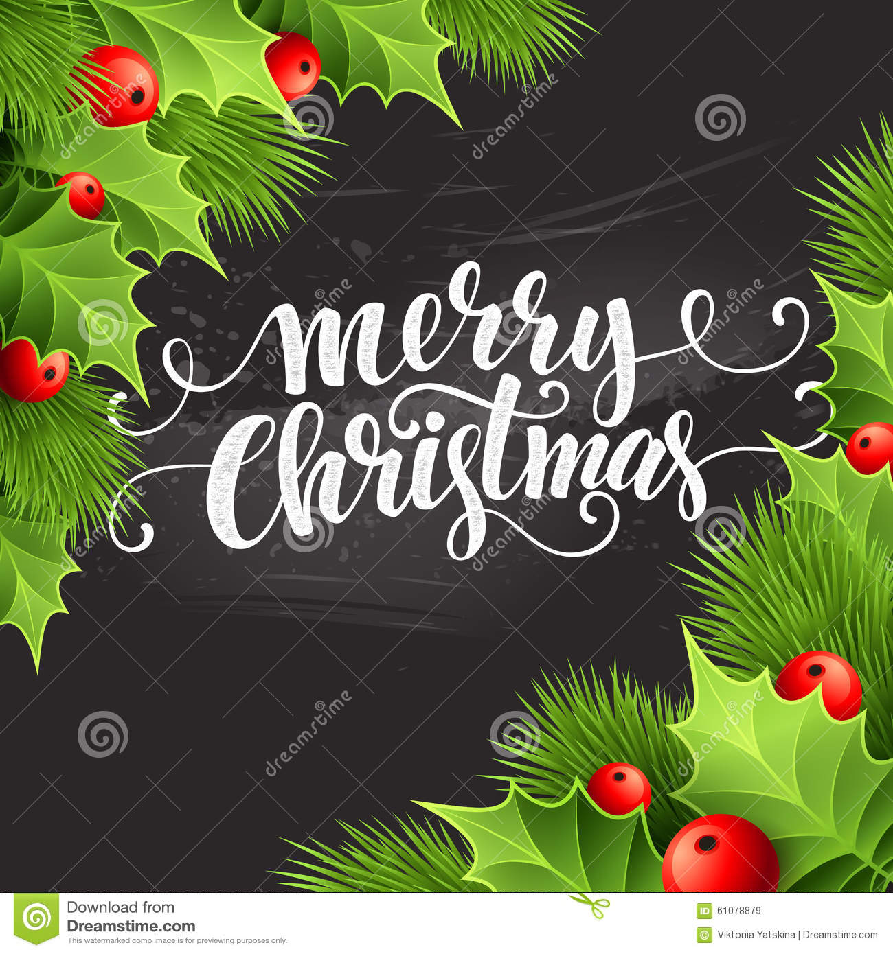 Board Decoration For Christmas: Christmas Decoration On Chalk Board. Vector Stock Vector