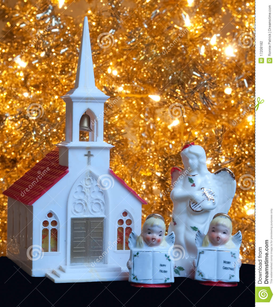 Christmas Decoration Church And Angels Stock Photo