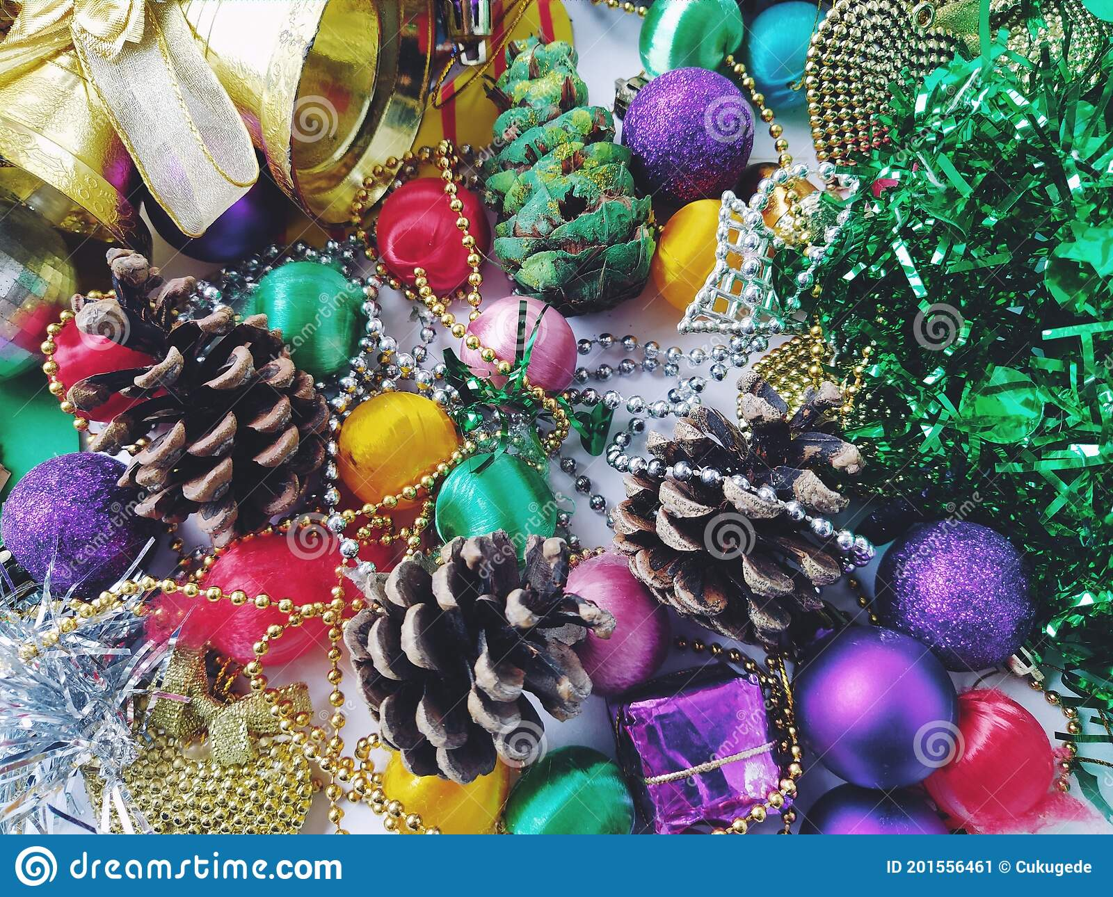 Christmas Decoration Collection Beautifully Arranged Shiny Bright Christmas Tree Decorations Green Foil Gifts Red Purple Stock Image Image Of Green Desk 201556461