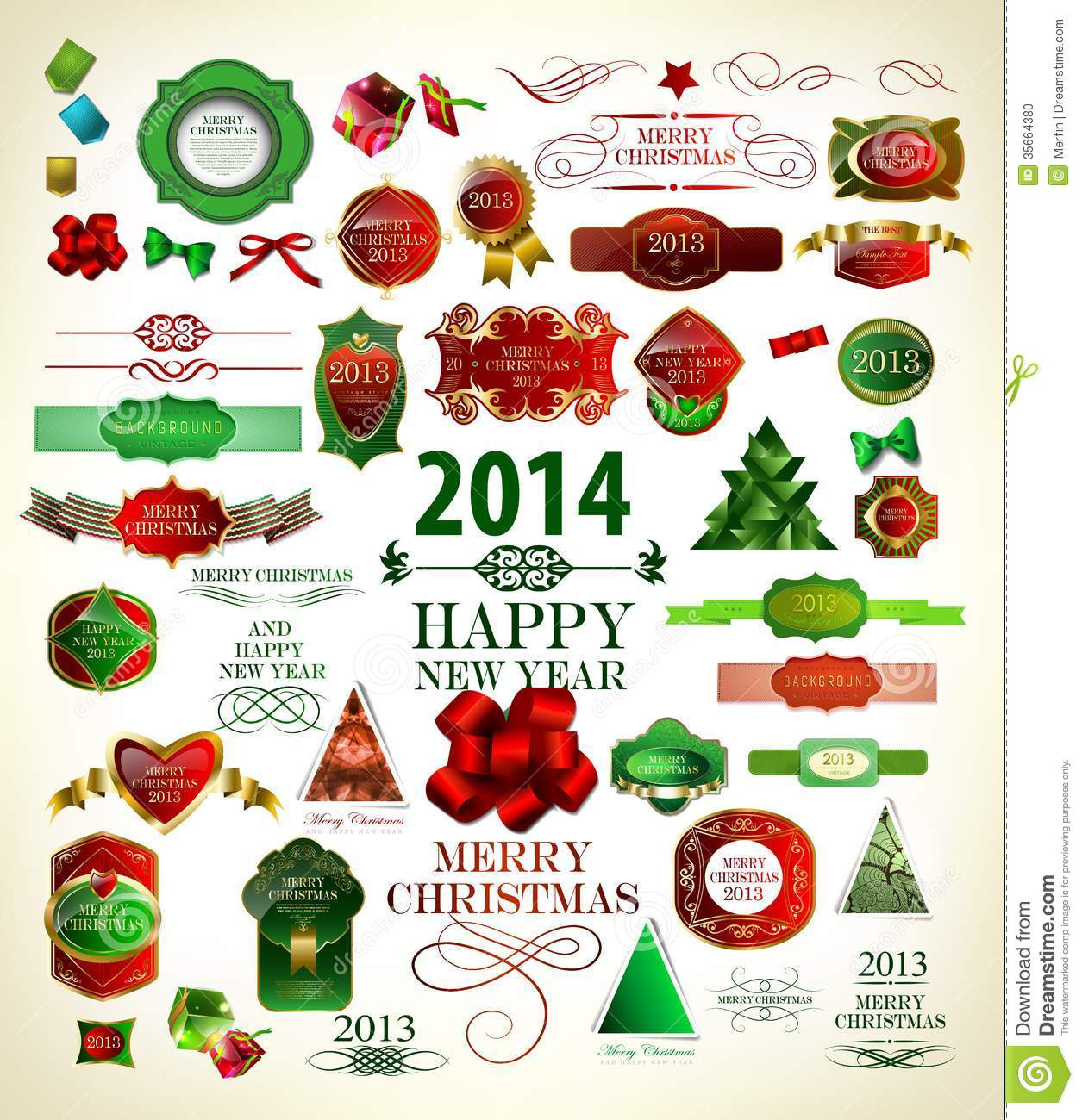 Christmas Tree Decoration Elements: Christmas Decoration Collection Stock Vector