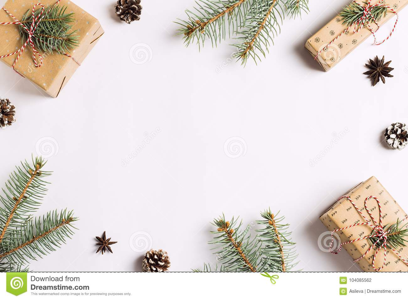 Christmas Decoration Composition Gift Box Pine Cones Spruce Branches ...